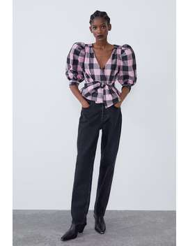 Gingham Taffeta Top by Zara