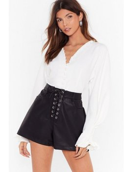 Lace Up Faux Leather Hotpant by Nasty Gal