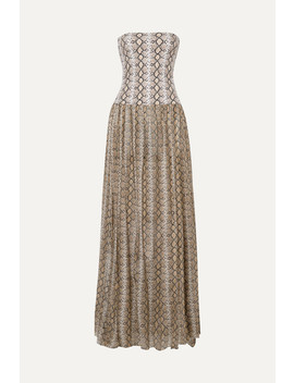 Snake Print Cotton And Silk Blend Maxi Dress by Caroline Constas