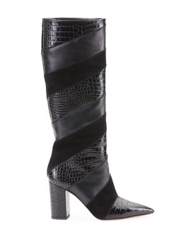 Boetti Croc Embossed Mixed Leather Knee Boots by Aquazzura