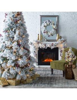 Belham Living Flocked Pine Needle Pre Lit Christmas Tree With Berries And Pine Cones by Hayneedle