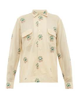 Floral Embroidered Cotton Blend Shirt by Bode
