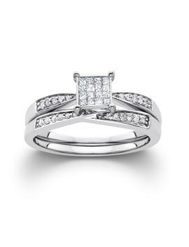 1/4 Cttw Certified Diamond Square Bridal Set 10 K White Gold   Size 7 Only1/4 Cttw Certified Diamond Square Bridal Set 10 K White Gold   Size 7 Only by Kmart