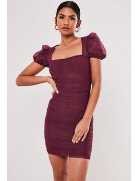 Plum Mesh Ruched Puff Sleeve Mini Dress by Missguided