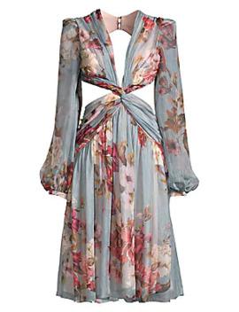 Peony Print Cutout Midi Dress by Pat Bo