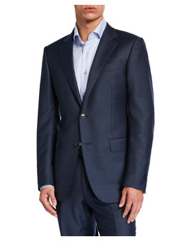 Men's Solid Wool Silk Two Piece Suit by Ermenegildo Zegna
