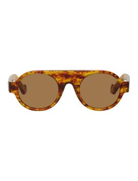 Tortoiseshell Round Aviator Sunglasses by Loewe