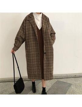 Akanya   Plaid Single Breasted Midi Coat by Akanya