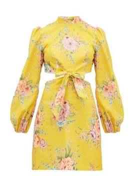 Zinnia Floral Print Cut Out Linen Blend Mini Dress by Zimmermann