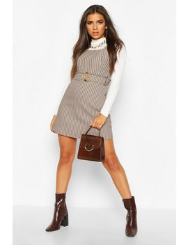 Belted Check Pinafore by Boohoo