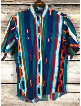 Vintage Wrangler Western Button Up Shirt Southwest Aztec Cowboy Men's Size 16 by Wrangler