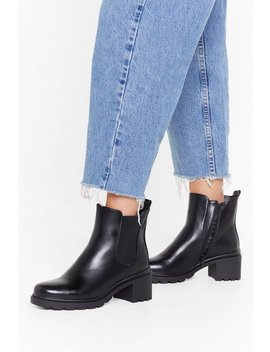 Faux Leather Cleated 2 Sole Chelsea Boots by Nasty Gal