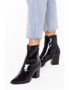 And Don't Foot It Up Patent Sock Boots by Nasty Gal