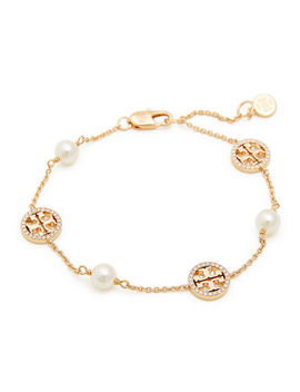 Tory Burch Crystal & Pearly Delicate Logo Bracelet by Tory Burch