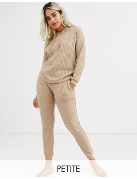New Look Petite Lounge Ribbed Coord Joggers In Camel by New Look