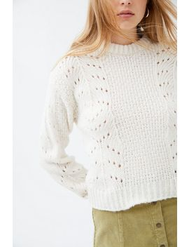 Uo Libby Pointelle Crew Neck Sweater by Urban Outfitters