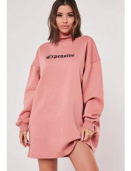 Dusky Pink High Neck Embroidered Sweater Dress by Missguided