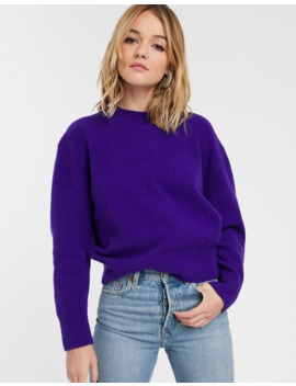 & Other Stories Relaxed Fit Round Neck Sweater In Purple by & Other Stories