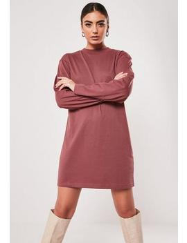 Dusky Pink Basic Long Sleeve T Shirt Dress by Missguided