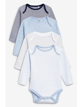 Blue/White 4 Pack Long Sleeve Bodysuits (0mths 3yrs) by Next