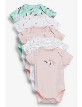 Pink 5 Pack Unicorn Star Short Sleeve Bodysuit (0mths 2yrs) by Next