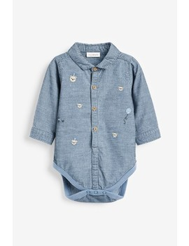 Blue Cord Embroidered Shirt Bodysuit (0mths 2yrs) by Next