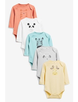 Multi 5 Pack Gots Organic Cotton Character Long Sleeve Bodysuits (0mths 2yrs) by Next
