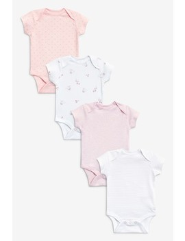 Pink/White 4 Pack Short Sleeve Bodysuits (0mths 3yrs) by Next
