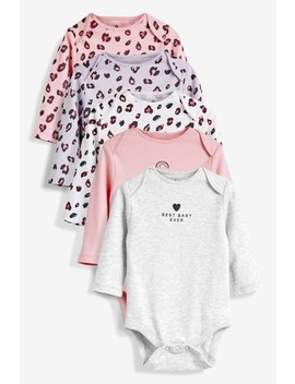 Pink/Grey Multi Leopard Print Long Sleeve Bodysuits Five Pack (0mths 2yrs) by Next