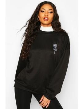 Rose Pocket Print Oversized Sweat by Boohoo
