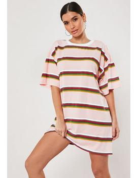 Pink Stripe Oversized T Shirt Dress by Missguided