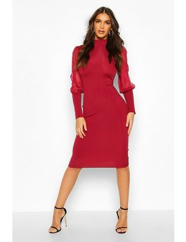 Turtle Neck Rib Dress With Mesh Sleeves by Boohoo