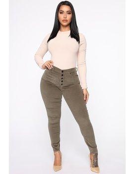 Corie Corduroy Skinny Pants   Olive by Fashion Nova