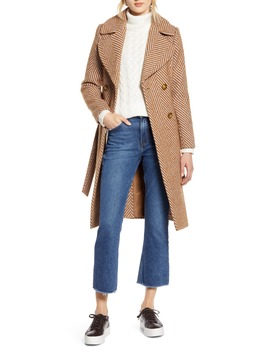 X Atlantic Pacific Belted Herringbone Coat by Halogen®