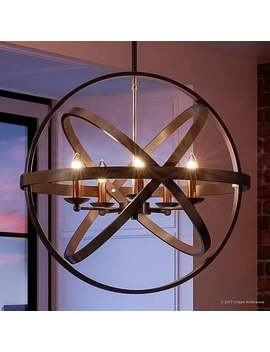 "Luxury Vintage Chandelier, 22.75""H X 23""W, With Transitional Style, Sphere Design, Estate Bronze Finish by Urban Ambiance"