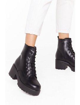 We Stand Corrected Faux Leather Lace Up Boots by Nasty Gal
