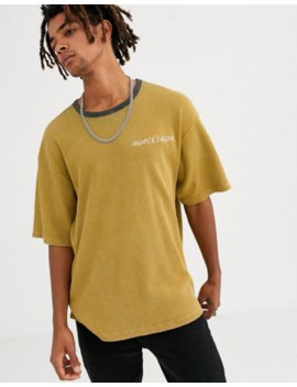Heart &Amp; Dagger Waffle T Shirt In Camel With Logo by Heart & Dagger