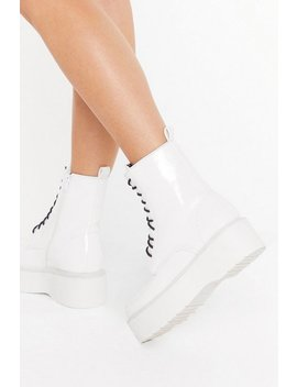 Up On The Platform Faux Leather Lace Up Boots by Nasty Gal