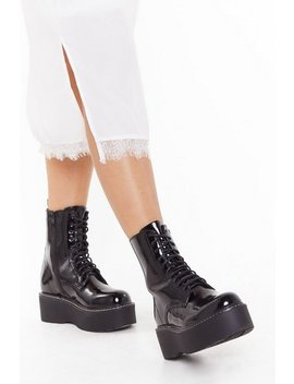 Wise Up Faux Leather Platform Boots by Nasty Gal