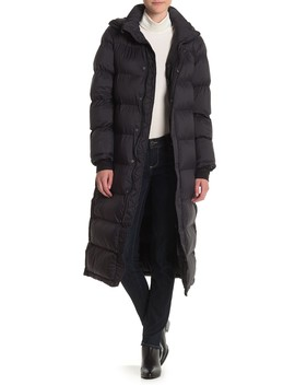 Water Resistant Hooded Zip Long Puffer Jacket by Bagatelle