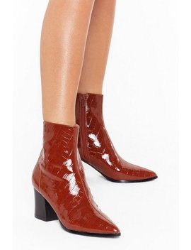 You Can't Croc Me Patent Faux Leather Boots by Nasty Gal