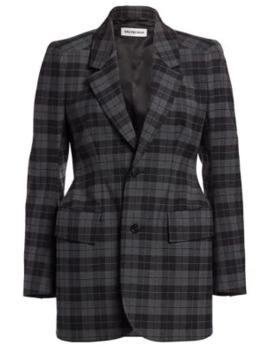Hourglass Wool Blend Plaid Jacket by Balenciaga