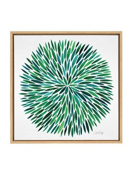 "24"" X 24"" Sylvie Watercolor Burst Framed Canvas Wall Décor By Cat Coquillette Natural   Kate And Laurel by Kate & Laurel All Things Decor"