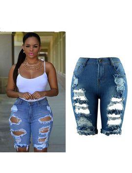 Women 2019 Summer Knee Length Jeans High Waist Ripped Destroyed Hole Stretch Slim Woman Streetwear Elastic Denim Shorts Big Size by Ali Express.Com