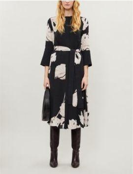 Zana Floral Print Crepe Midi Dress by Reiss