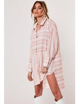 Nude Stripe Oversized Dip Back Shirt Dress by Missguided