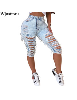 Wjustforu Denim Ripped Shorts Jeans Women Plus Size Casual Elastic Destroyed Sexy Hole Denim Shorts Packet Club Short Jeans by Ali Express.Com