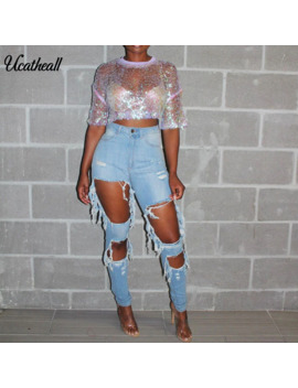 Ripped Jeans Women's Thin Hole Slim Hole Denim Pencil Pants Breeches Overalls Vintage Female Torn Trousers by Ali Express.Com