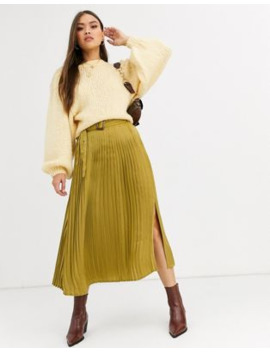 Neon Rose Pleated Midi Skirt With Belt In Hammered Satin by Neon Rose