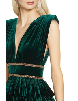 Velvet Tiered Evening Gown by Bronx And Banco